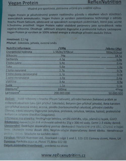vegan protein etiketa a složení